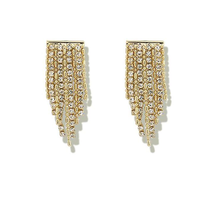 Crystal-Embellished Tassel-Drop Earrings