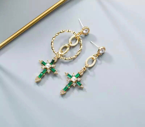Green Dangling Cross Earrings