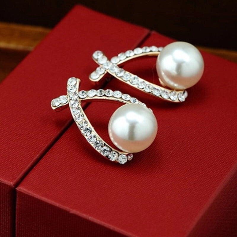 Bowknot Crystal Pearl Earrings