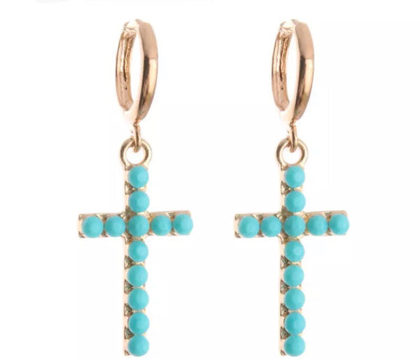 Glowing Drop Cross Earrings