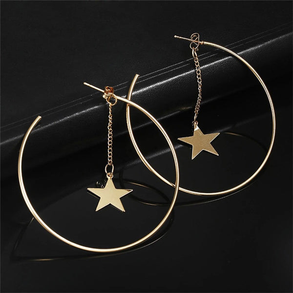Hallow Hoop Star Statement Earrings