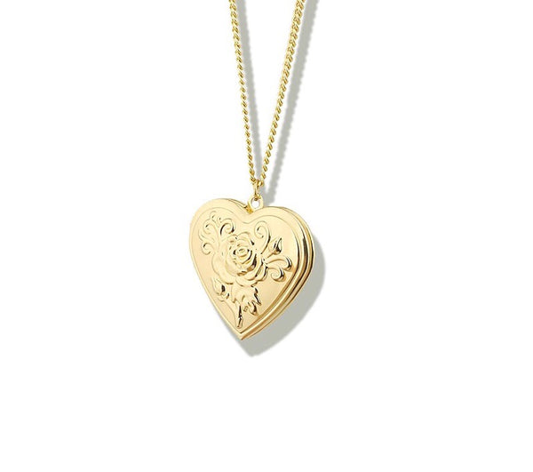 Heart Gold Locket Necklace