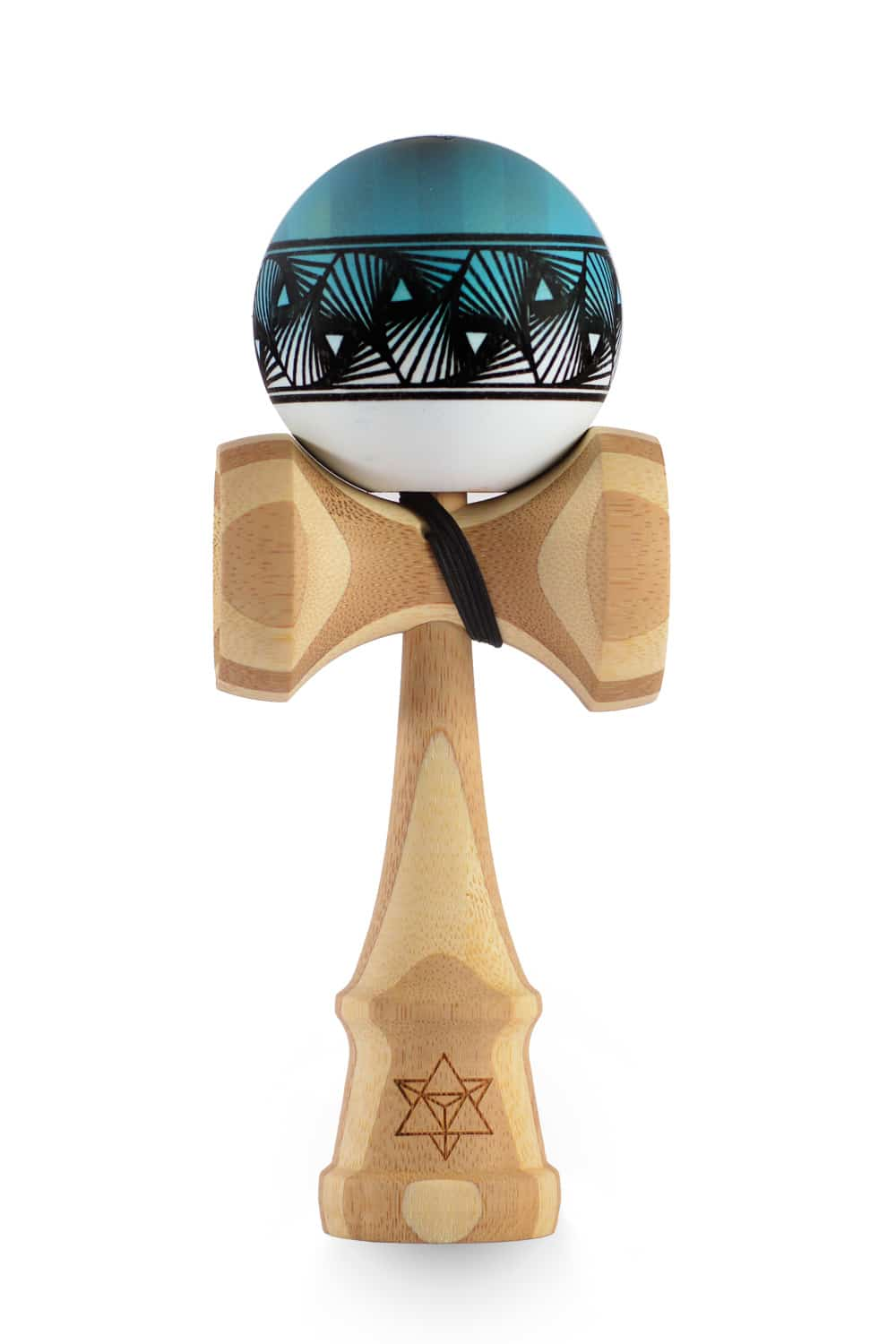 Kendama Israel - Bamboo Big Brother - Aqua/white Half fade Tetrah (Rhino Clear) - Kendama-Senses Nederland