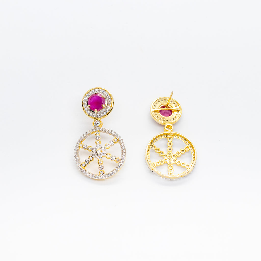 LOLstudio Diamond Ruby Zircon Stone Cocktail & Party Wear Earring LOLSTUDIOA6