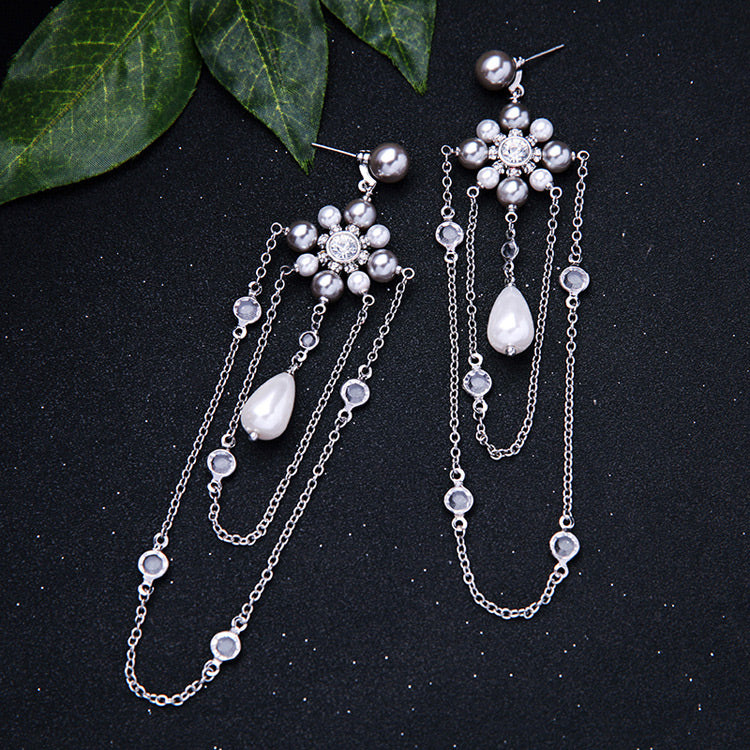 LOLstudio Silver and Pearl Bohemian Fashion Fusion Statement Earring LOLSTUDIOA111