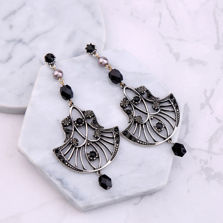LOLstudio Silver and Black Fusion Fashion Statement Earring LOLSTUDIOA115