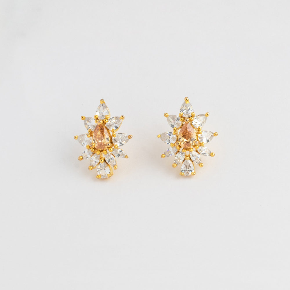 LOLstudio Yellow Sapphire & Zircon Diamond Dailywear Stud Earring  LOLSTUDIOA71