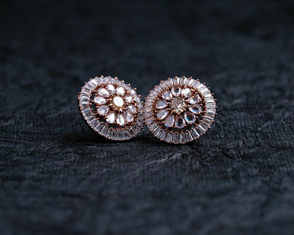 LOLstudio Rose Gold Zircon Diamond Cocktail Designer Partywear Stud Earring LOLSTUDIOA62