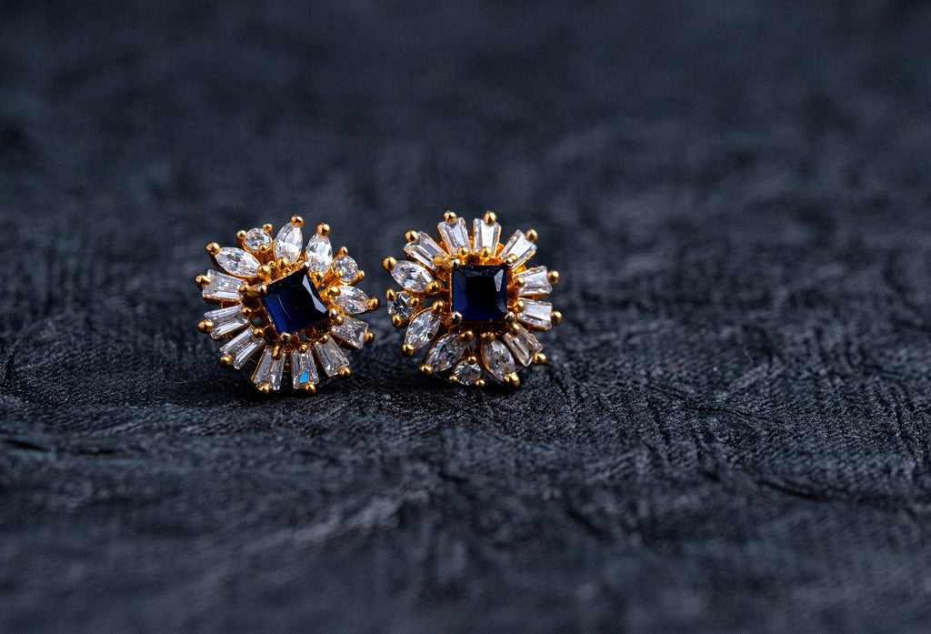 LOLstudio Blue Sapphire & Zircon Diamond Daily Wear Stud Earring LOLSTUDIOA61