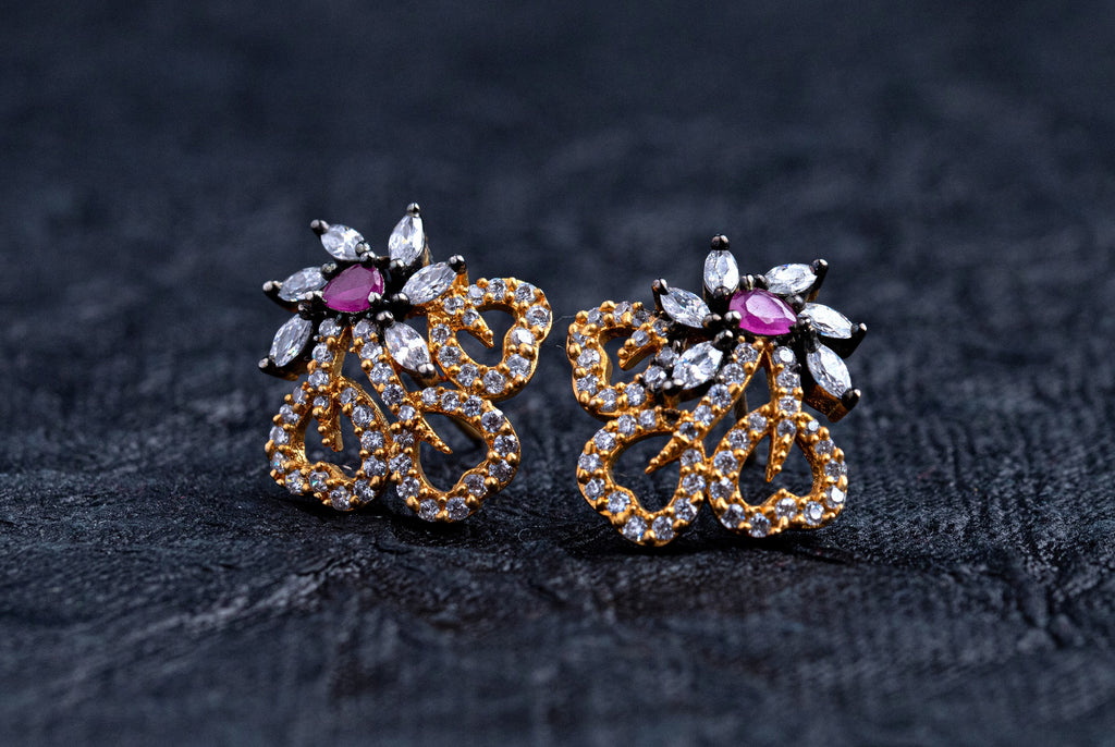 LOLstudio Ruby Pink & Black Zircon Diamond Dailywear Stud Earring LOLSTUDIOA70