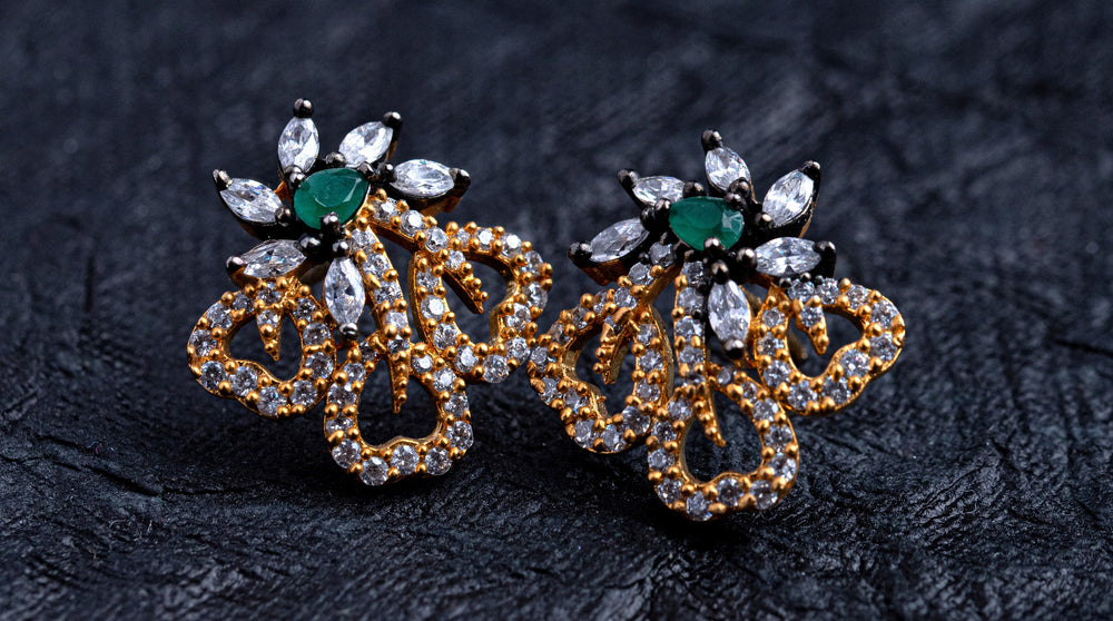 LOLstudio Emerald Green & Zircon Diamond Dailywear Stud Earring  LOLSTUDIOA73