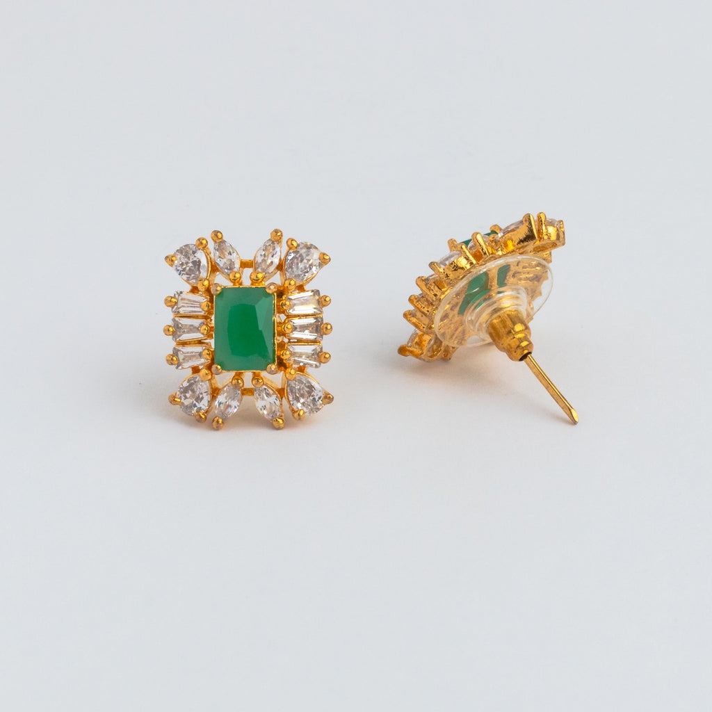 LOLstudio Emerald Green & Zircon Diamond Dailywear Stud Earring LOLSTUDIOA68