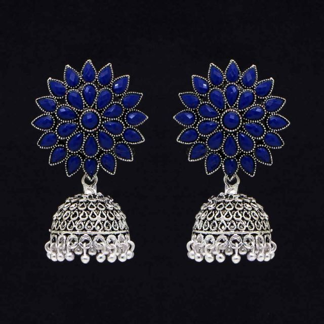 LOLstudio Blue Stone Silver Ethnic Jhumka Filigree Traditional Earring LOLSTUDIOA921