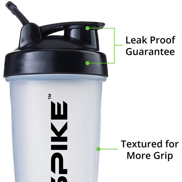 Spike Protein Shaker Bottle with Stainless Steel Blending Ball 700ml (Clear) - Spike