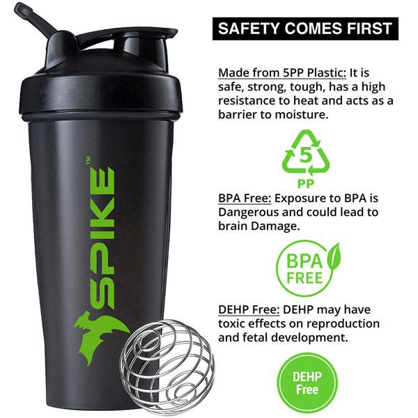 Spike Protein Shaker Bottle with Stainless Steel Blending Ball 700ml (Black) - Spike