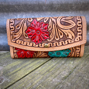 Floral Tooled Wallet/Crossbody