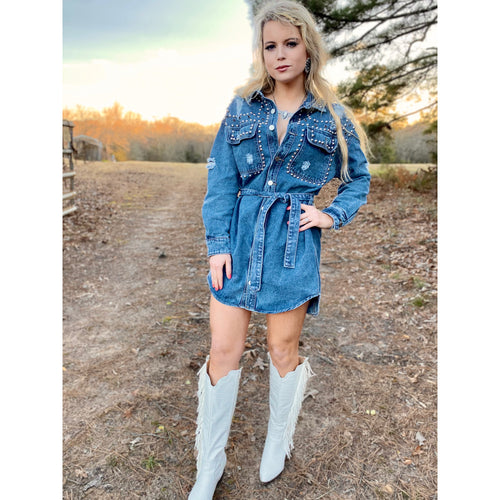 Rhinestone Vegas Denim Dress