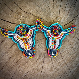 Seed Bead Steer Earrings
