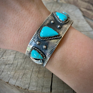Oxidized Turquoise Cuff