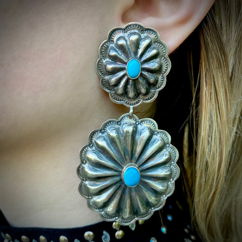 Authentic Turquoise Concho Post Earrings
