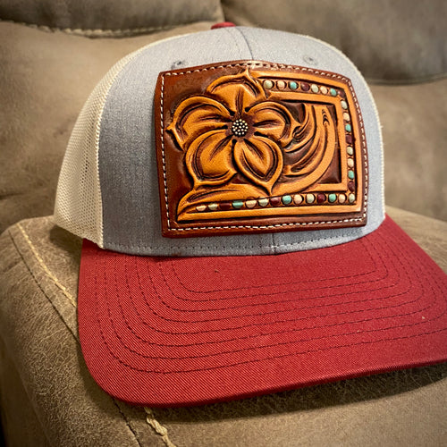 Pansy Tooled Patch Maroon & Grey Hat
