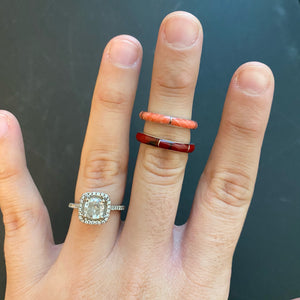 Coral Pink and Red Jasper Stacker Rings
