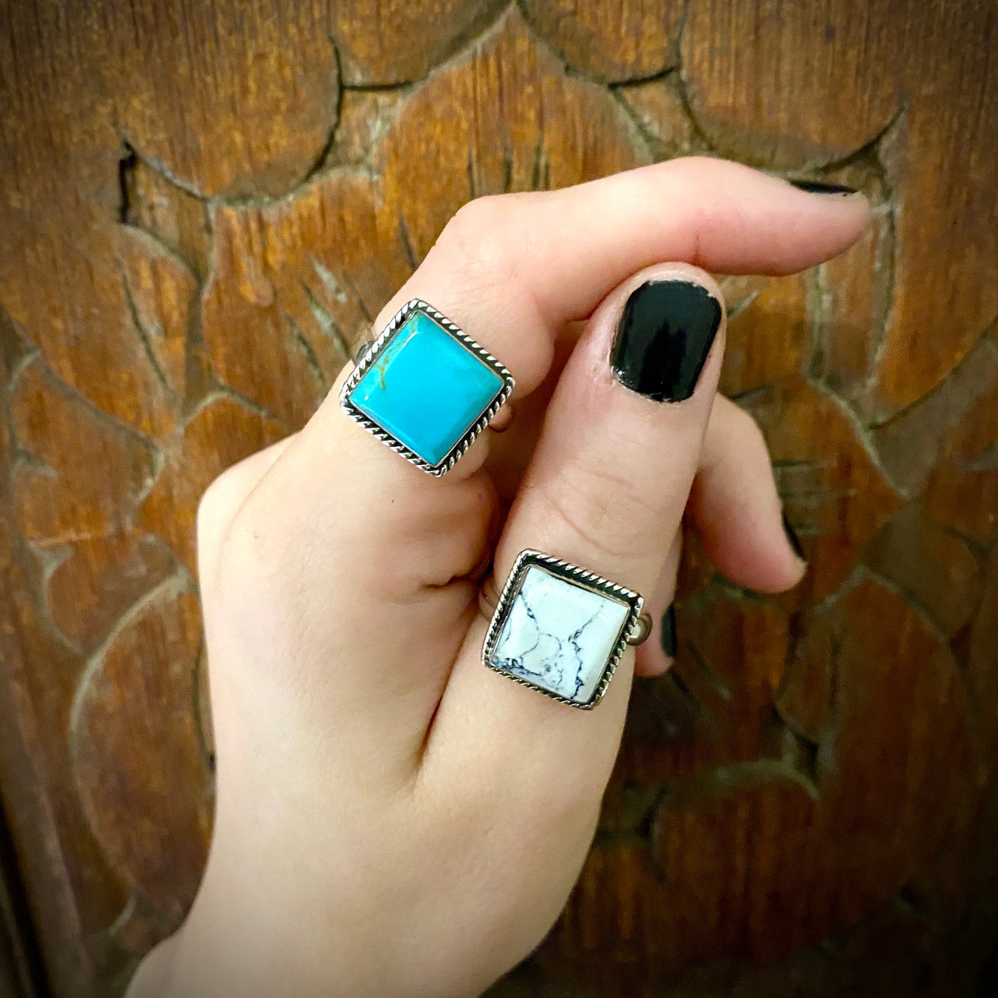 Turquoise & White Square Ring