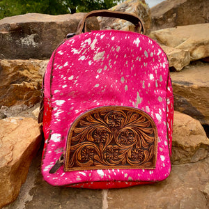 Hot Pink Metallic Backpack