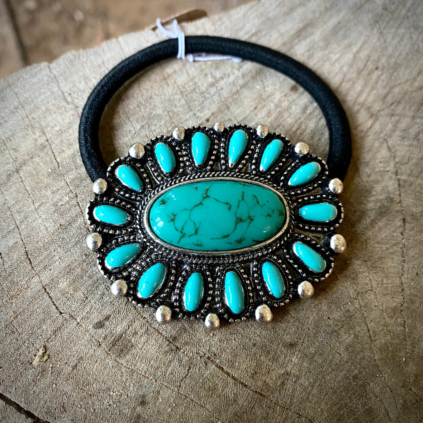 Turquoise Cluster Hair Tie