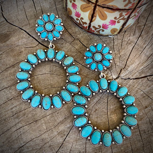 Turquoise Cluster Hoops