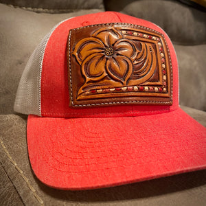 Pansy Tooled Patch Red Hat