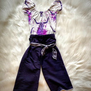 Purple & White Steer Bodysuit