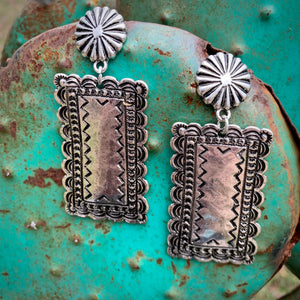 Silver Slab Earrings