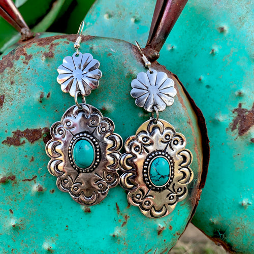 Turquoise Conch Earrings
