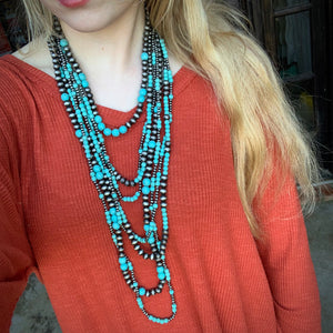 Multilayer Turquoise and Pearl Set