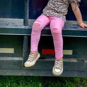 Distressed Pink Leggings