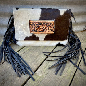 Black & White Cowhide Clutch