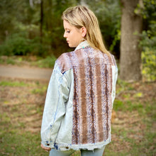 Load image into Gallery viewer, Distressed Denim Snakeskin Sequin Jacket
