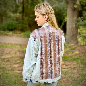 Distressed Denim Snakeskin Sequin Jacket