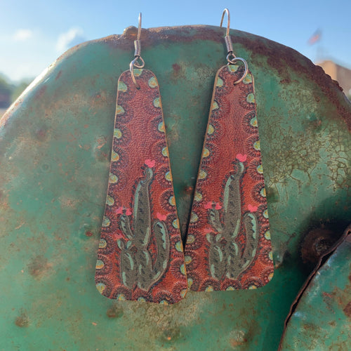 Cactus Leather Earring