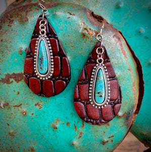 Gator and Turquoise Earrings