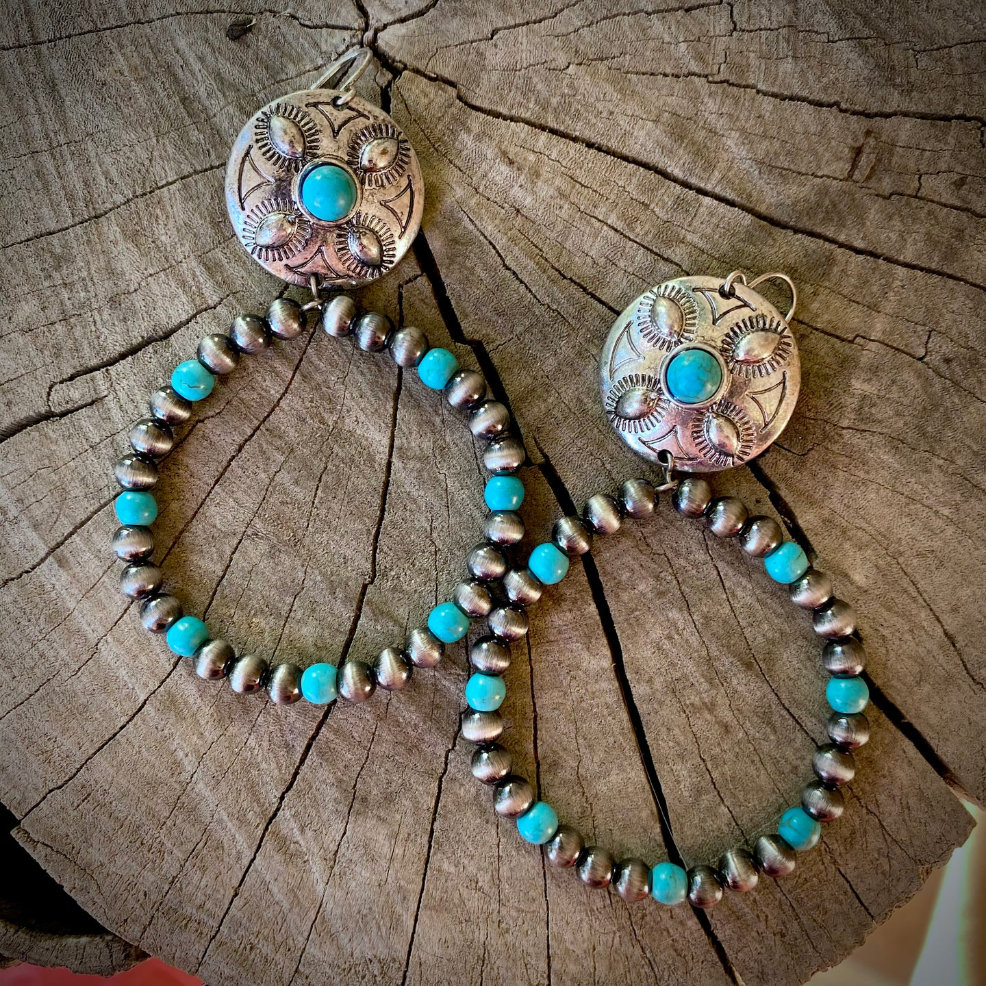 Concho Beaded Hoops