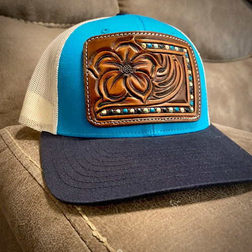 Pansy Tooled Patch Turquoise & Navy Hat