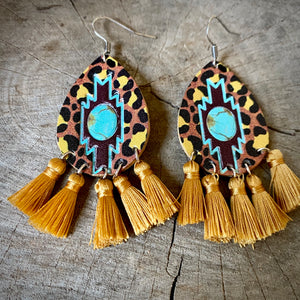 Leopard Fringe Aztec Earrings
