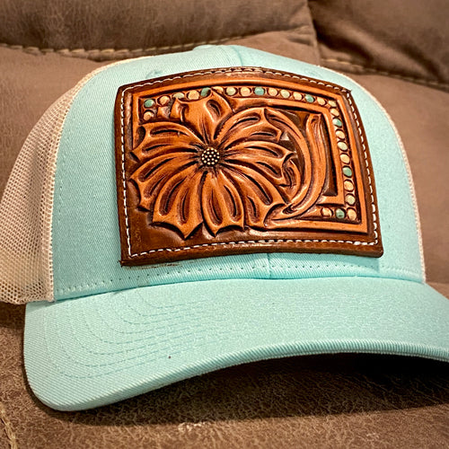 Turquoise Daisy Tooled Patch Hat