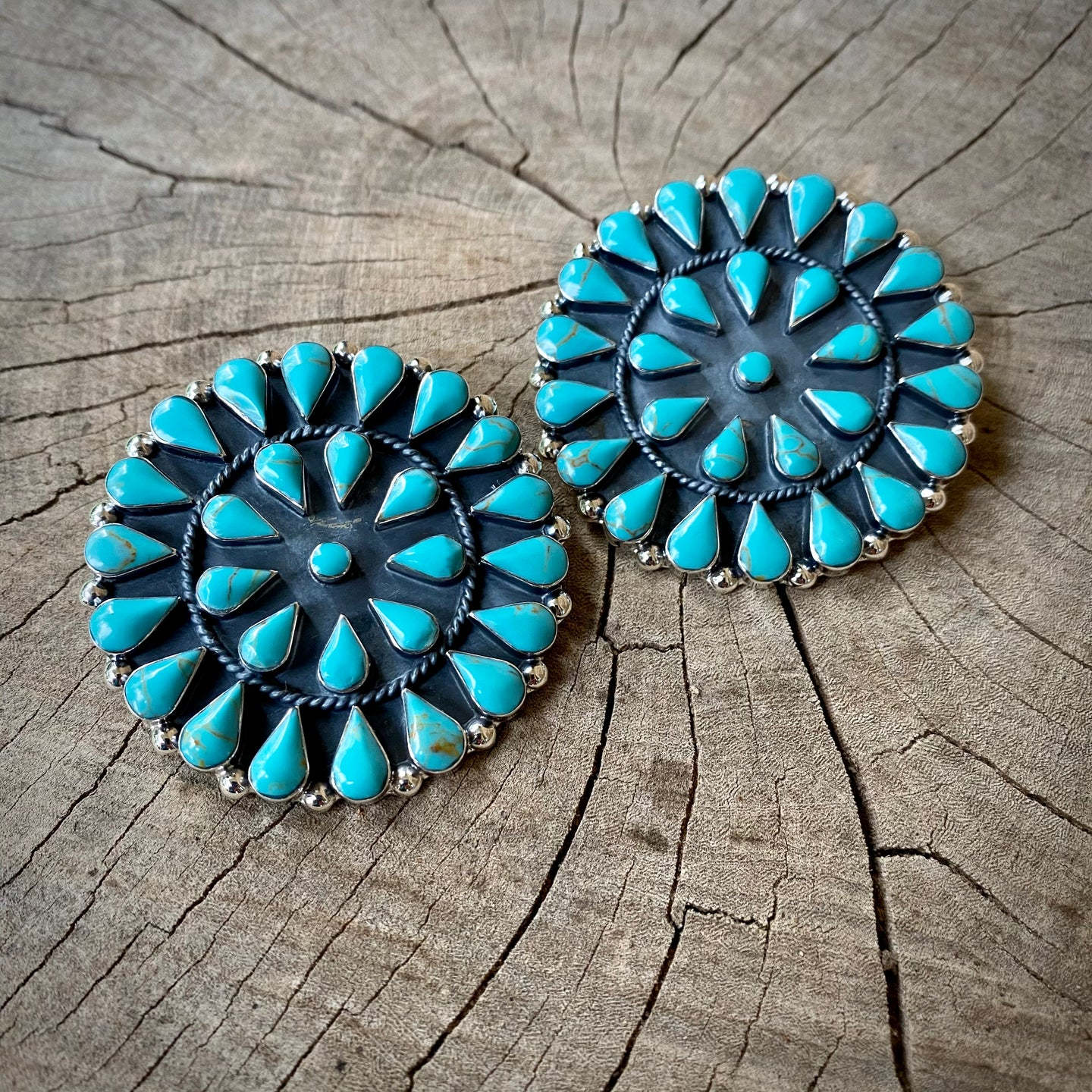 Large Turquoise Cluster Earrings