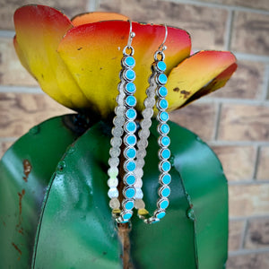Turquoise Drop Hoops