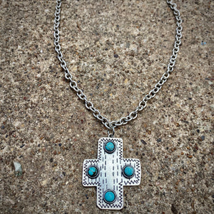 Turquoise Studded cross Necklace