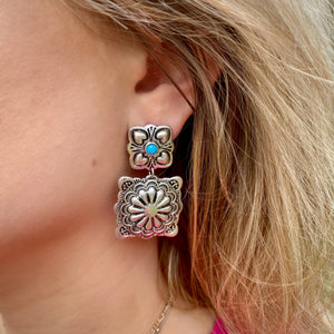 Square Concho Earrings