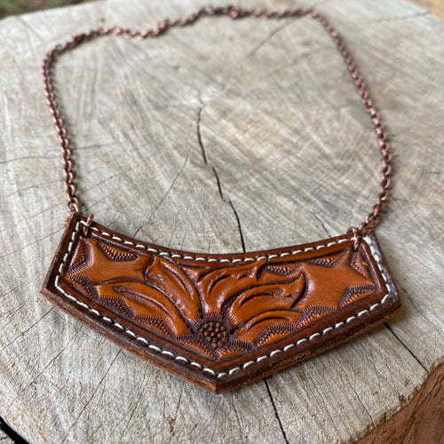 Sunflower Tooled Necklace